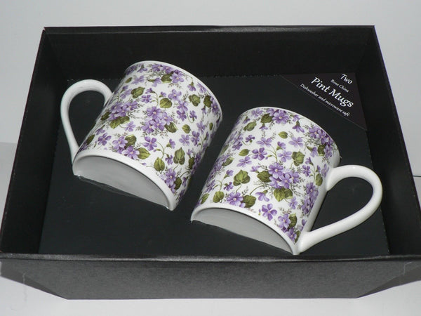 Violets china Pint mugs Set of 2 gift boxed 2 full pint sized mugs gift boxed
