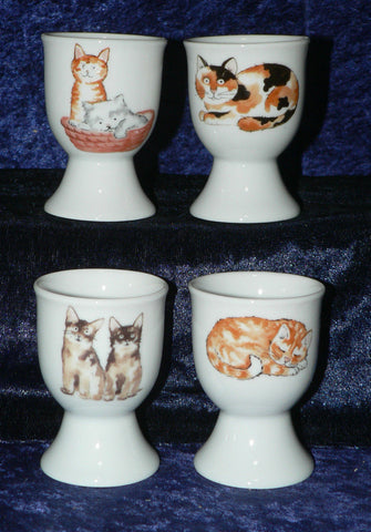Cute cats & kittens set of 4 ceramic egg cups gift boxed or unboxed you choose