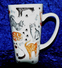 Cats & kittens fun chintz ceramic large latte mug 3/4pt capacity