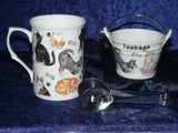 Cat mug, teabag tidy bucket used teabag holder and teabag squeezer tongs gift boxed