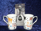Cats Mug & teabag squeezer Bone China mug with stainless teabag tongs - options