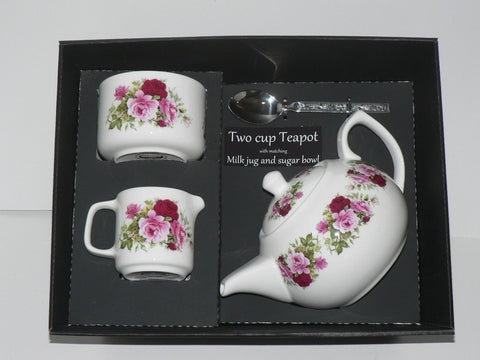 Pink rose 2 cup teapot, Milk & Sugar gift boxed.