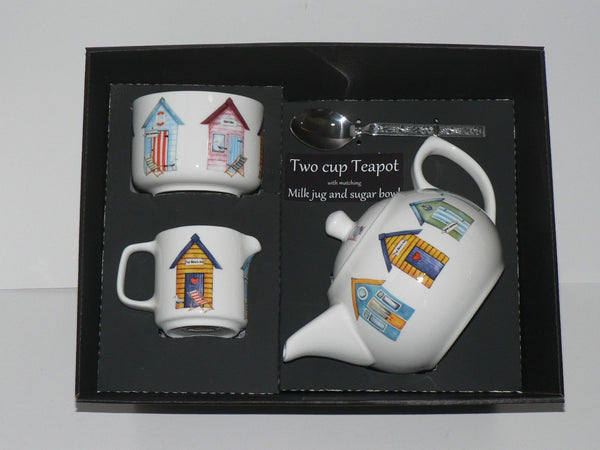 Beach hut 2 cup teapot ,Milk & Sugar gift boxed