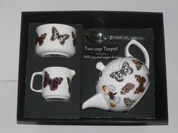 Butterfly 2 cup teapot,Milk & Sugar gift boxed. Teapot, matching milk and sugar