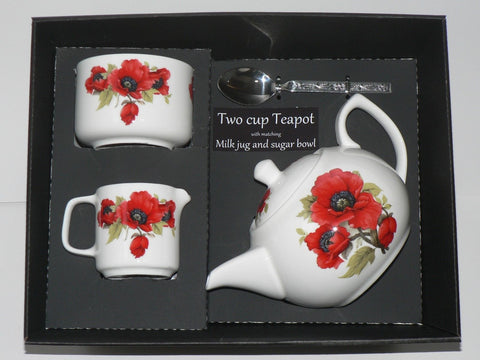 Poppy 2 cup teapot, Milk & Sugar gift boxed.