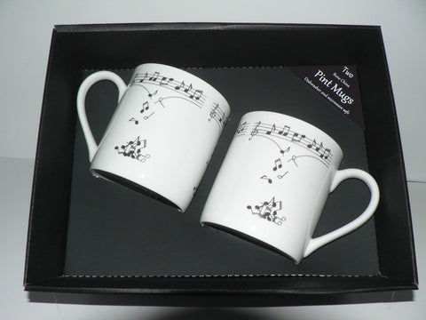 Music notes Pint mugs Set of 2 gift boxed 2 full pint sized mugs gift boxed