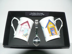 Beach Hut Mug & teabag squeezer - Bone china mug with stainless teabag tongs