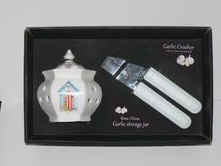 Beach Hut China Garlic Jar and easy clean garlic crusher gift boxed if required