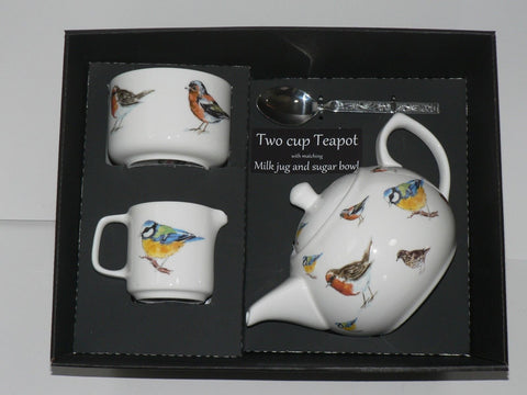 Garden birds 2 cup teapot ,Milk & Sugar gift boxed.