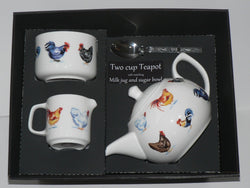 Chicken  2 cup teapot,Milk & Sugar gift boxed. Teapot, matching milk and sugar