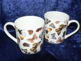 Butterfly chintz Pint mugs. Set of 2 gift boxed pint sized mugs