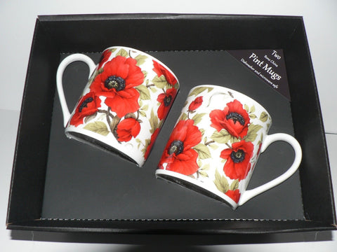 Poppy chintz Pint mugs Set of 2 gift boxed 2 full pint sized mugs gift boxed