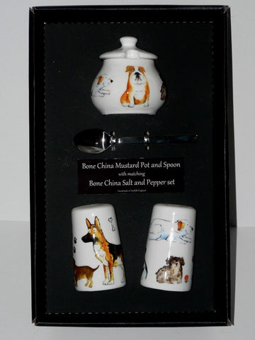 Dogs Salt & pepper pots & mustard pot & spoon gift boxed