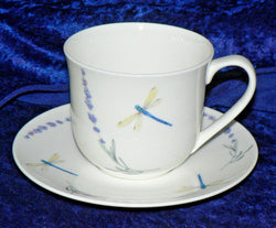 Lavender & dragonfly fine bone china cup and saucer set - 1 - 6 sets to choose