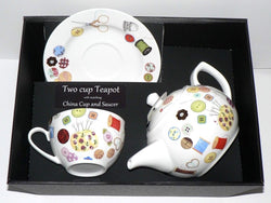 Sewing  2 cup teapot,cup and saucer with gift boxed option