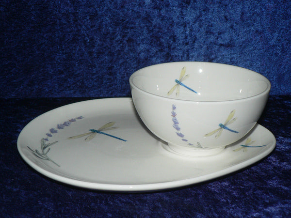 Lavender and dragonfly snack plate & soup bowl set or snack plate and mug set
