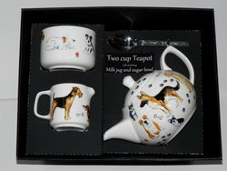 Dog 2 cup teapot, Milk & Sugar gift boxed.