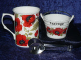Poppy mug, teabag tidy bucket used teabag holder and teabag squeezer tongs gift boxed
