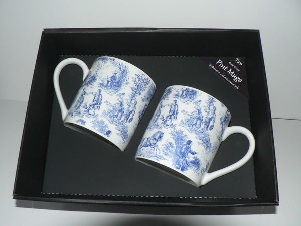 Blue Toille de Jouy, Pint mugs set of 2 gift boxed 2 full pint sized mugs boxed