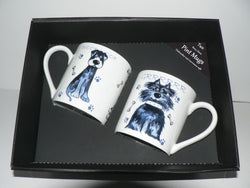 Dogs china Pint mugs Set of 2 gift boxed 2 options to choose from drop down menu