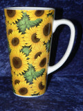 Sunflower chintz ceramic large latte mug  3/4pt capacity