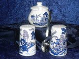 Blue Willow pattern Salt & pepper pots & mustard pot & spoon gift boxed