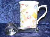 Sewing Mug & teabag squeezer. China mug with stainless teabag tongs - options