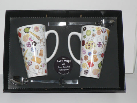 Sewing chintz ceramic large latte mug  3/4pt. single, pair gift boxed wth spoons