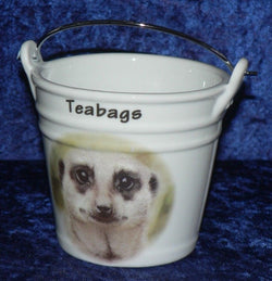 Meerkat teabag tidy bucket Bucket shaped teabag tidy used teabag holder meerkat face