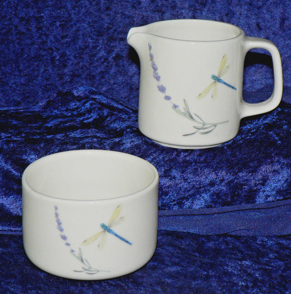 Lavender & dragonfly milk and sugar set - gift boxed if required
