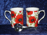 Poppy Mug & teabag squeezer.Bone china mug with stainless teabag tongs - options