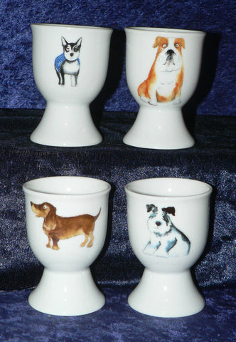 Fun Dogs set of 4 ceramic egg cups