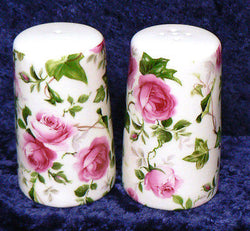 Ivy Rose pink an green rose bone china cruet set salt & pepper set