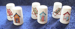 Beach Huts bone china cruet set salt & pepper set 3 designs to choose