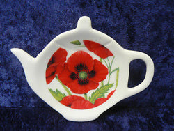 Poppy chintz Porcelain teabag tidy used teabag holder spoon rest teapot