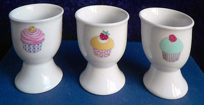 Set of 4 cupcakes cup cakes ceramic eggcups egg cups