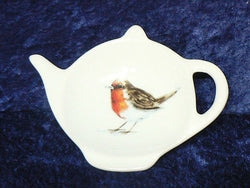 Garden Birds Robin Porcelain teabag tidy used teabag holder spoon rest teapot