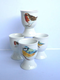 Garden birds egg cups eggcup porcelain set of 4 boxed