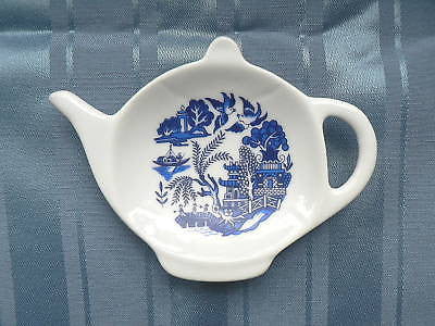 Blue Willow Porcelain teabag tidy spoon rest teapot, used teabag holder