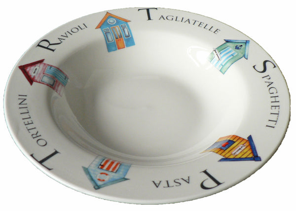 Small ceramic pasta bowl with beach hut design 23cm  8.5""