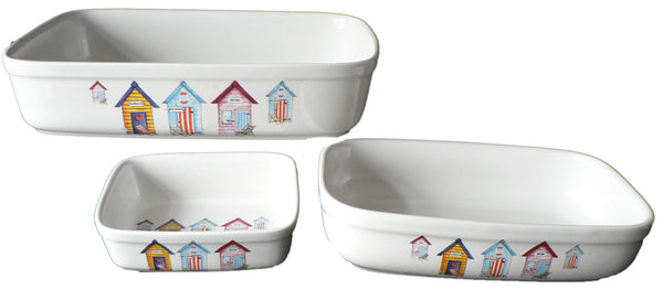 Beach Hut rectangular ceramic roasting, pie, serving dish - choice of 3 sizes