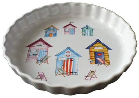 Beach Hut Pattern 25cm Ceramic flan Quiche Dish