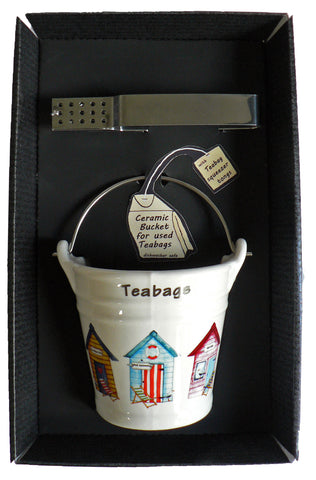 Beach hut bucket shaped Teabag tidy & tongs in gift tray shrink wrapped Used teabag holder