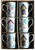 Beach Hut Bone china mugs - set of 6 gift boxed mugs
