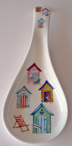Beach Huts white bone china Spoon. Large kitchen utensil rest