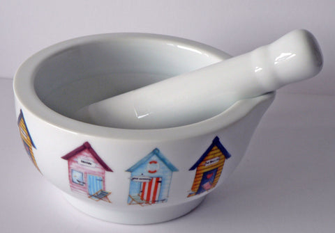 Beach Hut pestle and mortar set - Pestle and mortar decorated with beach huts