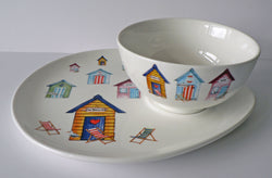 Beach Huts snack plate & soup bowl set. Ideal for nibbles & dips