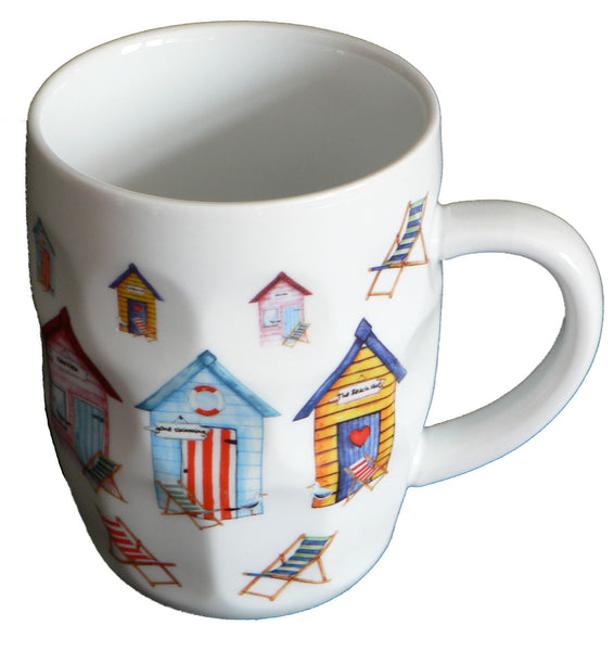 Beach Huts ceramic dimple tankard, pint mug,