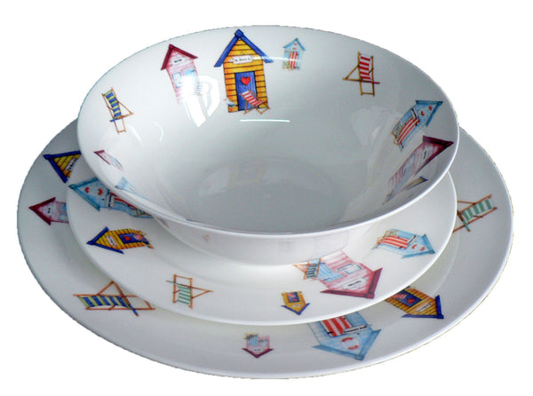White fine bone china dinner, side, cereal bowl, with beach huts all around rim