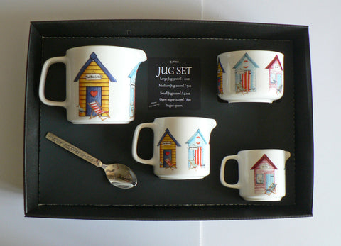 Beach Hut jugs, set of 3 sizes jug and sugar pot bowl 4/7/10oz gift  boxed set